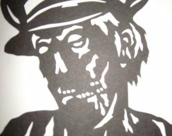 Zombie silhouette paper portrait Nazi Zombies military uniform black cut out original art horror Halloween