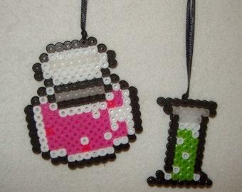Mad Scientist Christmas Laboratory Glass tree ornament Perler Beads