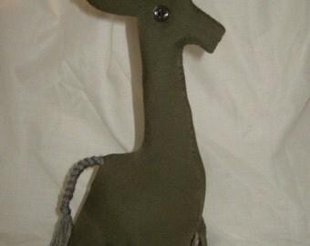 Upcycled plush giraffe primitive ultra silk olive green tribal print wild animal