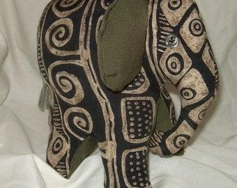 Upcycled plush elephant primitive ultra silk olive green tribal print wild animal
