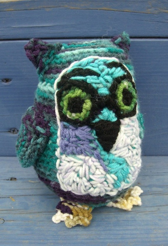 OOAK Crocheted owl amigurumi glasses hipster trendy ooak plushie white teal purple powder blue fat bird silly face