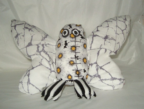 Plush monster ooak moth butterfly unique fabric art doll