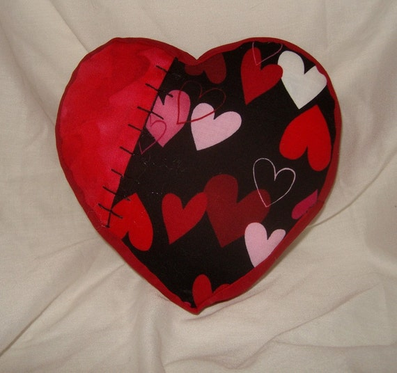 SALE Heart pillow pincushion novety Valentine's Day minature cushion sewing goth blood red