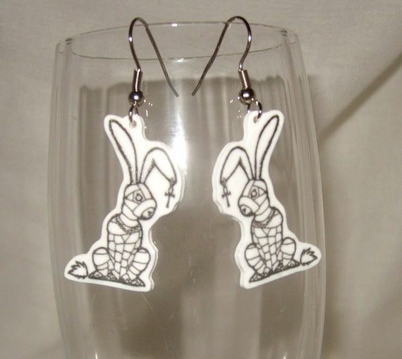 rabbit mummy Egyptian earrings original artwork black and white goth emo ankh undead