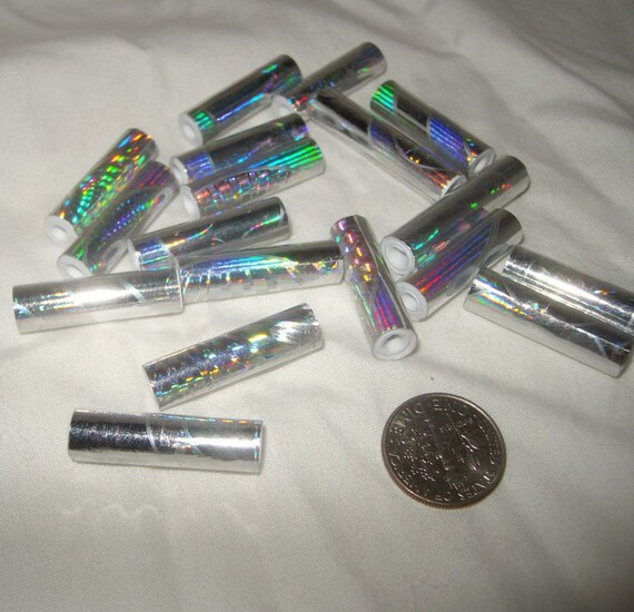 Hologram foil fancy paper beads 1 inch glam rainbow sparkle punk shiny glitter colors