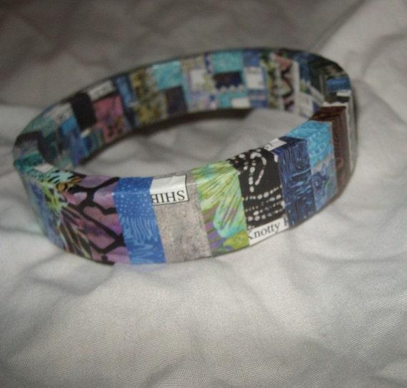 upcycle bangle bracelet unusual batik paper plastic handmade bracelet blue aqua pale green dark blue brown