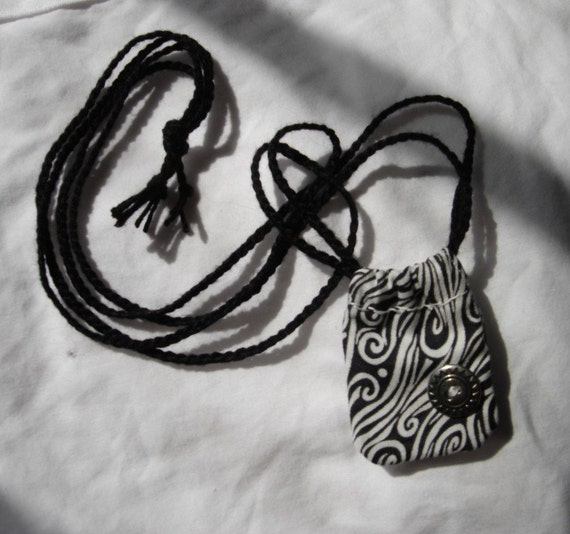 dice stash bag necklace pendant hippie sack tiny miniature treasures medicine bag coin purse black and white swirls