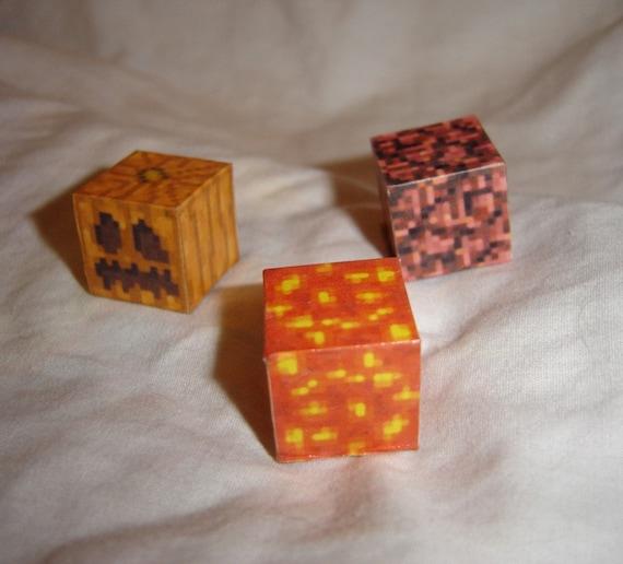 Minecraft pixel blocks 8bit 16bit videogame decoration hell and back weird dice wood cubes papercraft pumpkin halloween
