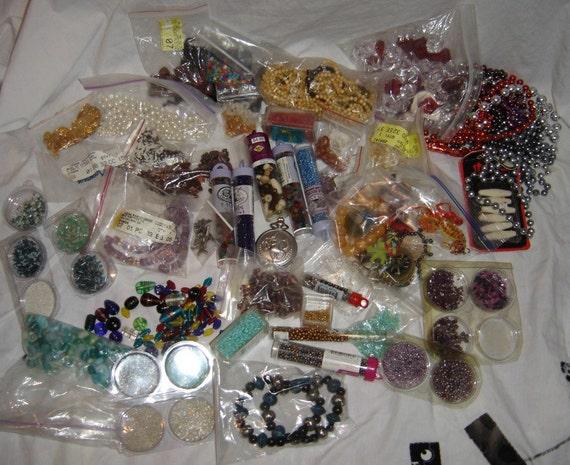 huge bead destash supplies stone beads glass beads wood beads bone beads commercial supplies, pendants plastic beads lot