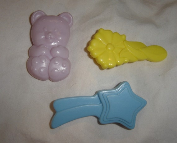SALE My Little Pony brushes 1980s toys set of three teddy bear shooting star flower plastic brush comb