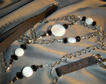 Stunning Beaded Leash, in mother of pearl disks and onyx beads