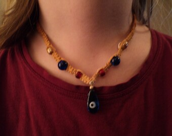tHE sEvenTies  Golden Variegated Seventies Inspired Hemp Necklace free ship to u.s.