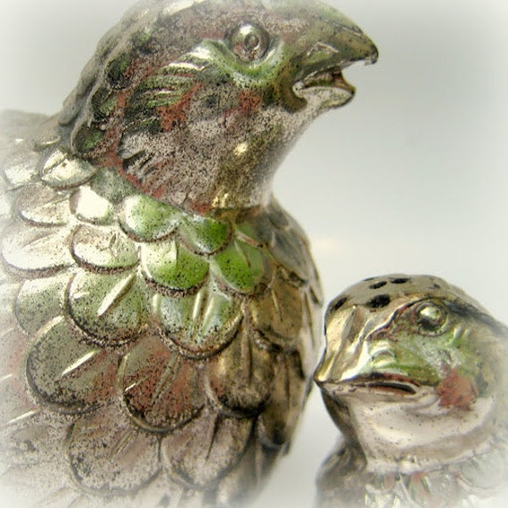 SALE Mama and Baby Quail Salt and Pepper Shaker Set- Silver Tone