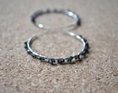 Rough Diamond Earrings, Black Natural Uncut Conflict Free, Sterling Silver Hoop