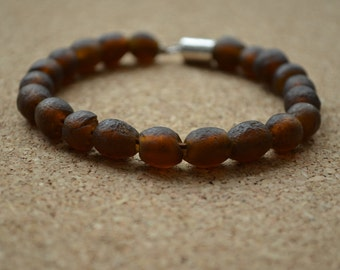 Recycled Glass Bracelet, Rustic African Handmade Beads Brown Coffee Chocolate, Magnetic Clasp