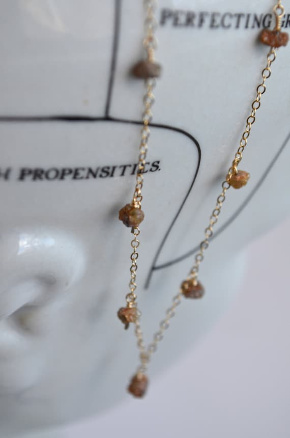 Rough Diamond Necklace, Natural Diamonds by the Inch, Chocolate Brown Rust Charcoal, Delicate 14k Gold Chain, Uncut Conflict-Free