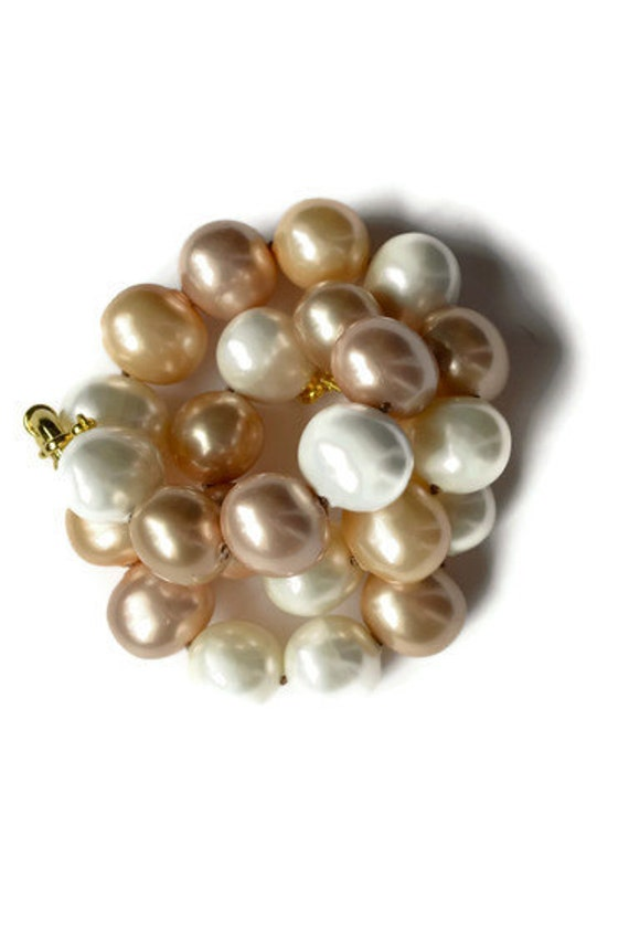 Pearl Necklace, Peach Blush and Ivory Shell Pearls, Oversized Extra Large, Hand Knotted on Silk Cord