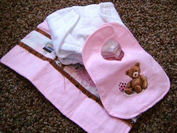 Doll Diaper Bib, burp rags and diapers SEWING PATTERN pdf