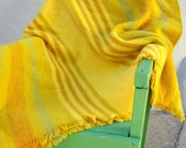 50s Danish modern wool blanket / RARE L.F. Foght golden yellow lime stripe / GORGEOUS
