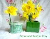 Vintage green flower vases // flower frogs // 1940s