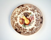 Vintage brown transferware saucer //  Windsor Ware // Harvest Fruit // England