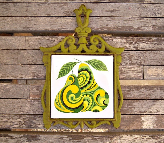 Vintage cast iron trivet // lime green psychedelic pears // 60s 70s
