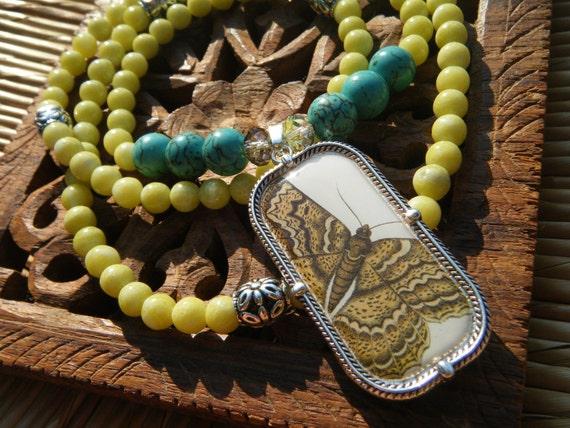 Joy & Happiness- inspirational crystal gemstone 108 bead mala necklace-boho yoga zen butterfly