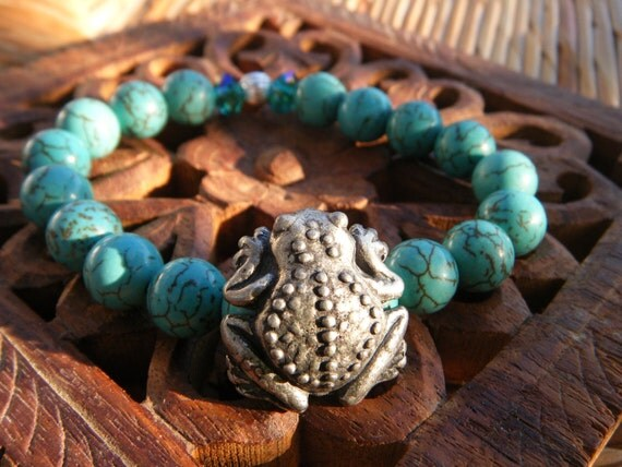 Luck & Happiness- limited ed. - inspirational crystal gemstone bracelet-boho yoga zen lucky frog