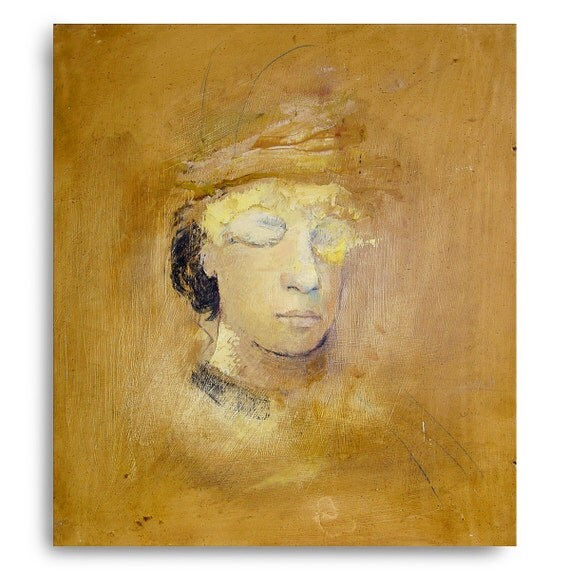 Original Figure painting oil on wood panel-Orange Head 15 x 16 inches