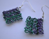 Sale-  Knitted Up-Cycled Communication Wire Dangle Earrings with Silver Plated Hooks