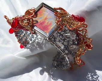 Clearance Sale- Cuff Bracelet Hand Knitted Wire Fire and Ice with hand dyed silk window
