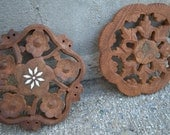 Set of Vintage Wooden Trivets Made in India. Table Decor. Table Setting. Dinner.