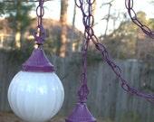 Lovely Purple Double Pendant Chandelier. Lighting. Lamps.