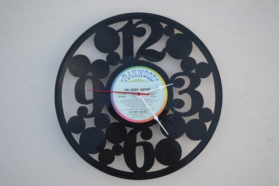vinyl record clock (artist is Exotic Guitars)