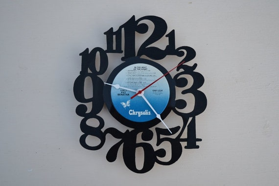 vinyl record clock (artist is Pat Benatar)
