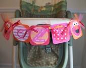 Sesame Street ELMO Girly (Pink, Orange, Red) High Chair Monogram/Initials Birthday Banner