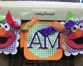 Sesame Street ELMO Girly Primary (Red, Orange, Purple, Lime) I AM 1 High Chair Banner