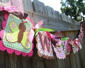 """Butterfly """"Welcome Baby"""" (Pink, Brown, Green) Baby Shower Banner"""