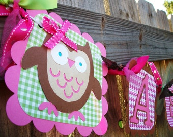 Owl (Pink, Brown, & Lime) Birthday Name and Age Banner