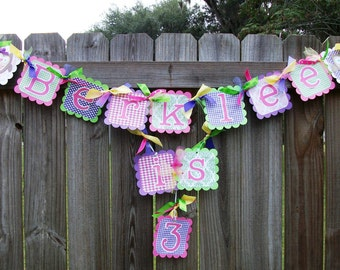 Owl (Pink, Green, Purple, & Yellow) Birthday Name and Age Banner