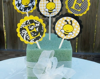 Bumble Bee (Yellow & Black) Cupcake Toppers (Set of 12)