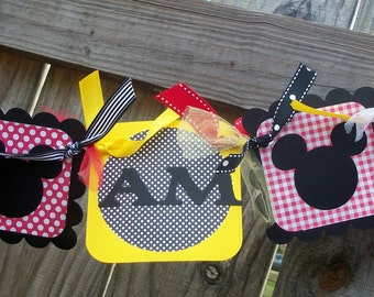 Mickey Mouse (Red, Yellow, & Black) I AM 1 High Chair Banner