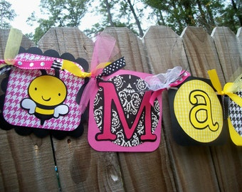 "Bumble Bee ""(Name) is Coming"" (Hot Pink, Yellow, & Black) Baby Shower Banner"