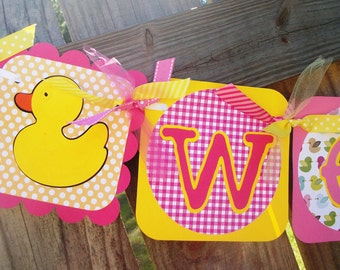 "Rubber Duckies ""Welcome Baby"" (Pink & Yellow) Baby Shower Banner"