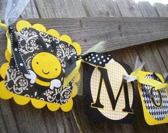 "Bumble Bee ""Mommy to Bee"" (Yellow and Black) Baby Shower Banner"