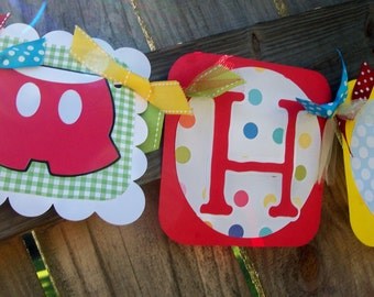 Mickey Mouse (Red, Bright Blue, Lime, Yellow) Happy (Age) Birthday Banner
