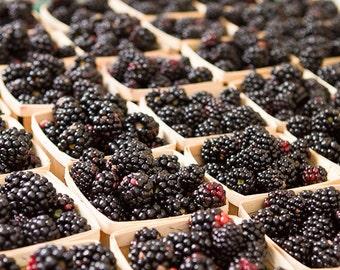 Food Photography, Kitchen Art, Cafe Decor, Blackberries Wall Art, Farmers Market Photography, Fruit Prints, In Abundance