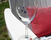 Handpainted wine glasses - American Stars - set of 2