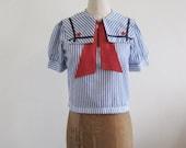 1970s Vintage Nautical Sailor Collar blouse
