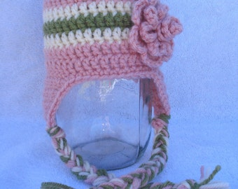 Light pink earflap hat with cream and green stripe-Sizes newborn to adult
